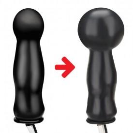 Черная надувная анальная пробка с вибрацией - 10 см.
